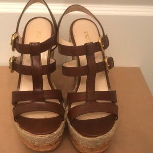 Authentic Brown Leather Cork Wedges sz 38